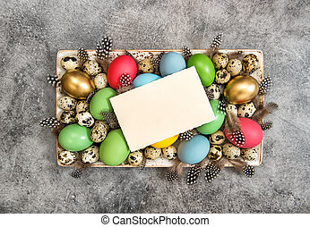 Easter eggs decoration with greetings card for Your text