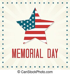 Memorial Day Vector Illustration. Star with American Flag.