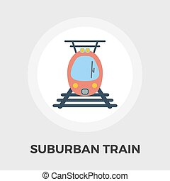 Suburban electric train flat icon