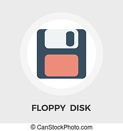 Magnetic floppy disc flat icon - Magnetic floppy disc icon...