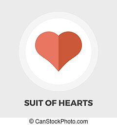 Card suit icon flat - Suit of heart icon vector Flat icon...