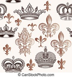Beautiful seamless background with hand crowns and fleur de lis in engraved style.eps