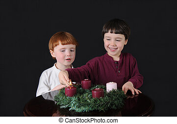 First Week of Advent - Two brothers light an Advent wreath...
