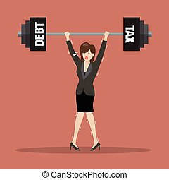Business woman lifting a heavy weight of debt and tax
