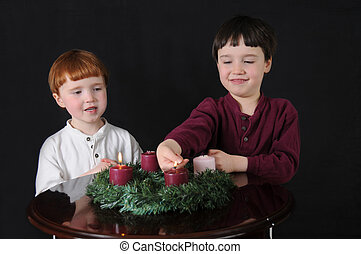 Second Week of Advent - Two brothers light an Advent wreath...