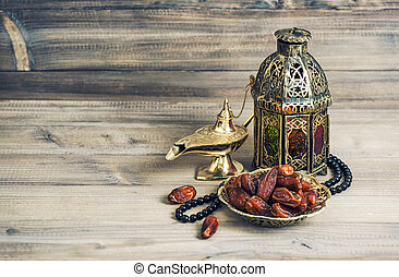 Arabian lantern, golden lamp fruits. Eid mubarak vintage -...