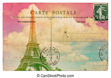 Vintage styled french postcard Eiffel Tower Paris. Retro...