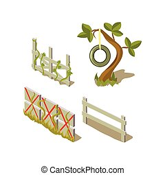 Sheds And Tree Simplified Cute Illustration