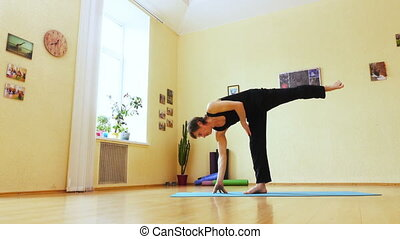 Man is engaged in yoga