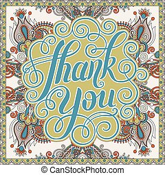 thank you handwritten lettering inscription on floral ethnic...