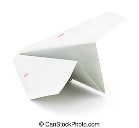 Paper airplane on white.