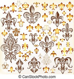 Mega collection of  vector vintage fleur de lis in engraved and golden style.eps