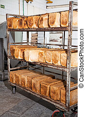 Bread Loves On Metallic Rack - Bread loaves arranged on...