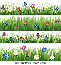Green grass with flowers and butterflies. Seamless vector set
