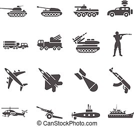 Army, military vector icons set