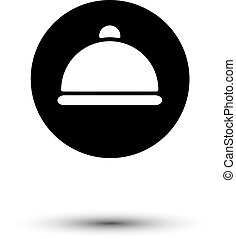 Vector white cloche icon isolated on black Culinary and food...