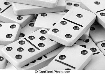Old gray dominoes close up - The old gray dominoes with...