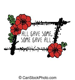 Memorial day card with poppies - Memorial day card with red...