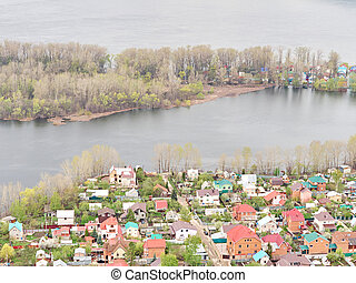 River Flood Aerial View  Homes and Park