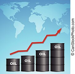 Increasing Price of Oil With World Map Background, Oil Price Concept