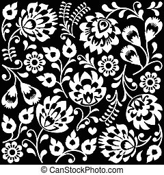 Polish folk art white pattern - Traditional monochrome...