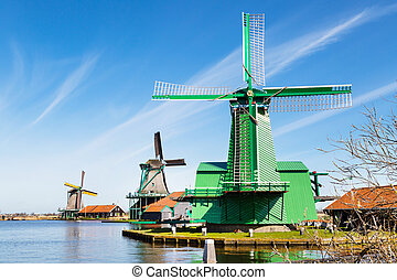 Windmills in Zaanse Schans, traditional village near...