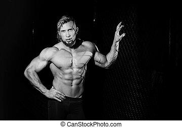 cerca, foto, joven,  muscular, negro, blanco, cuadrícula, hombre
