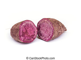 Sweet purple potato - Sweet purple potato isolated on white...