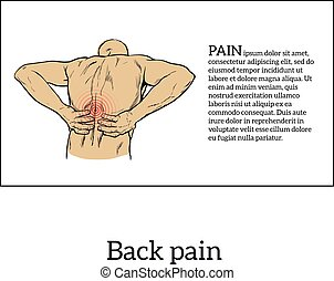 Low back pain in men, black and white sketch - Lumbar pain...