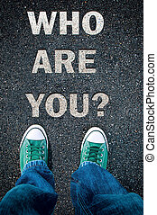 Who are you - Brand new green shoes from above on asphalt...