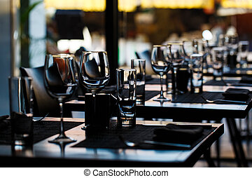 Table setting in restaurant