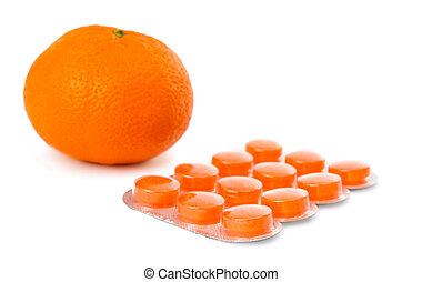 Packaging of orange pills isolated on white background