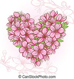 Peach blossom in the shape of heart