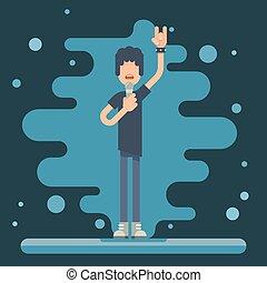 Singer performer soloist Icon Hard Rock Heavy Folk Music Background Concept Flat Design Vector Illustration