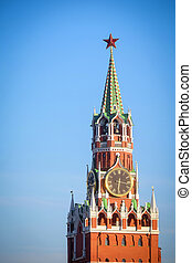 chiming clocks on a Spasskaya tower in Moscow Kremlin,...