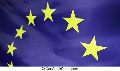 Closeup of European Union flag in the wind
