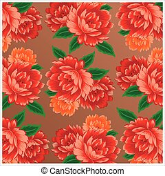 Chinese vintage peony pattern - Vector Chinese vintage peony...