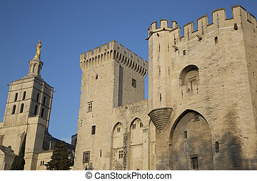 Palais des Papes - Palace of the Popes and Cathedral,...