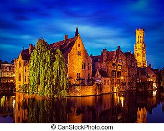 Bruges Brugge famous view, Belgium - Famous view of Bruges-...