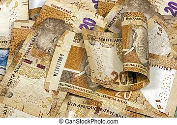 sud, africaine, vingt, rand, brun, banque, notes,