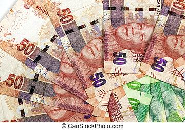 closeup, circular, arranjo, de, SUL, africano, banco, notas,...