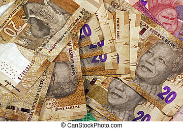 Scattered Twenty Rand South African Bank Notes - Closeup...
