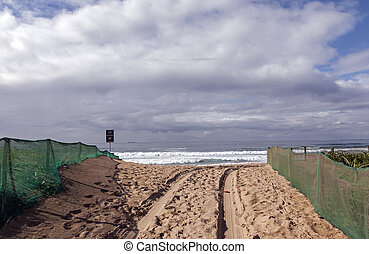 Green Shade Netting on Beach Access Area - Beach access road...