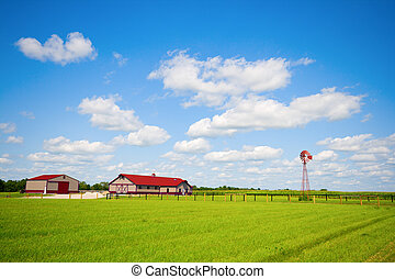 Farm - Typical Midwestern farm with horse barn and windmill