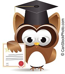 Owl and diploma certificate - graduated owl with cetificate...