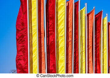 festive flags of different colors - holiday celebration...