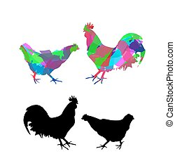 silhouette of rooster and hen on white background