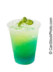 Kiwi italian soda take home drink on white background