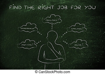 man choosing a job type, find the right job for you - find...