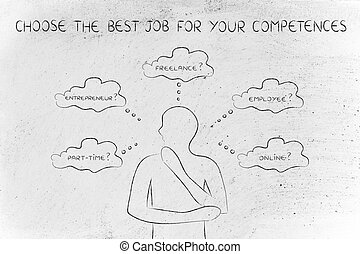 man choosing a job type, the best for your competences -...